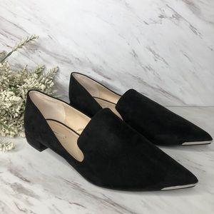 Zara Pointed toe smoking slipper suede black sz 9